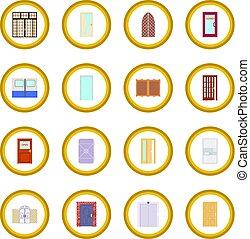 cirkel, dörr, ikon