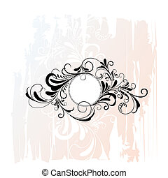 cirkel, decoratief, floral, ornament