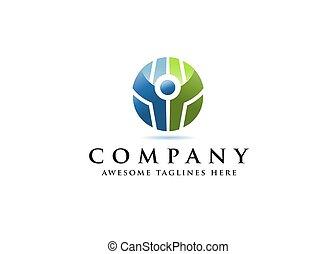 cirkel, farverig, duelighed, menneske figur, logo, aktiv
