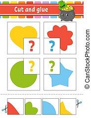 cirkel, flits, ster, spel, glue., kaarten., set, knippen, flower., opleiding, hart, vector, activiteit, worksheet., illustration., children., vrijstaand, page., character., spotprent