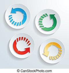 cirkel, form, nymodig, knapp, pil