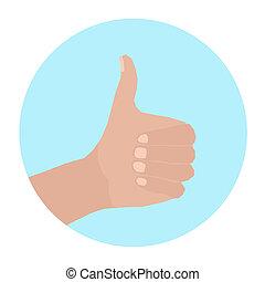 cirkel, hånd, tommelfinger oppe