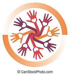 cirkel, hands., hartelijk