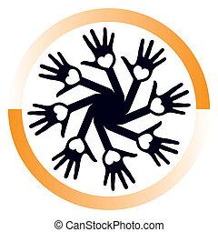 cirkel, hartelijk, vector., handen