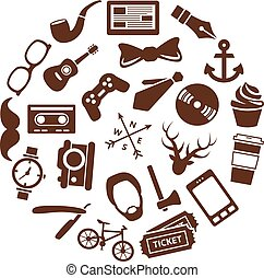 cirkel, hipster, iconen