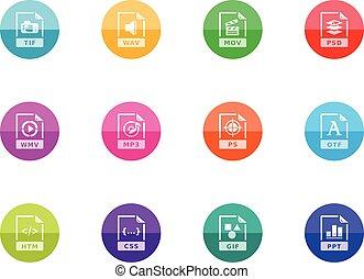 cirkel, iconen, -, bestand, formaten, 13
