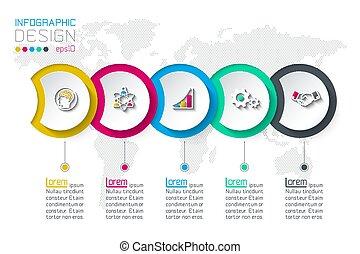 cirkel, infographic, 5, steps., etiket