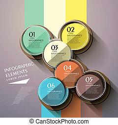 cirkel, infographic, glanzend, communie, etiket