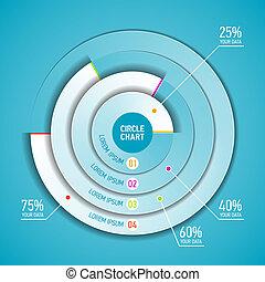 cirkel, infographic, tabel, mal