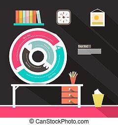 cirkel, infographics, illustratie, etiket