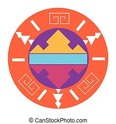 cirkel kina, vektor, konstruktion, isoleret