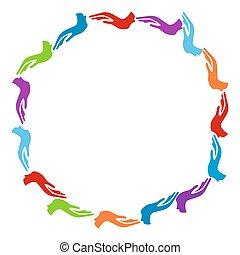 cirkel, kleurrijke, handen