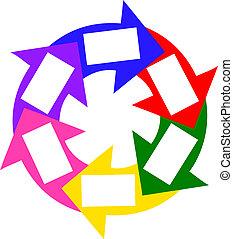 cirkel, kleurrijke, succes