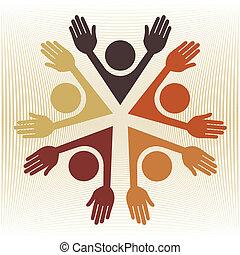 cirkel, kleurrijke, vector., mensen