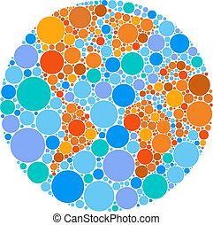 cirkel, klot, färgrik