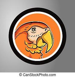 cirkel, märke, papegoja