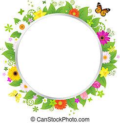 cirkel, med, blomningen