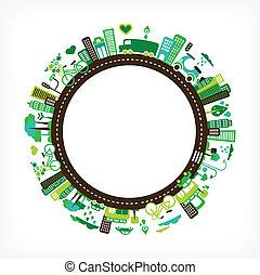 cirkel, med, grön, stad, -, miljö, och, ekologi