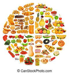 cirkel, met, veel voedsel, items