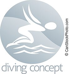 cirkel, ontwerp, duiker, zwemmen