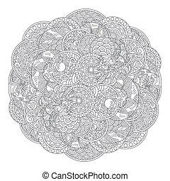 cirkel, ornament, draak