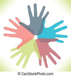 cirkel, overlapping, hands.