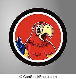 cirkel, papegojor, märke