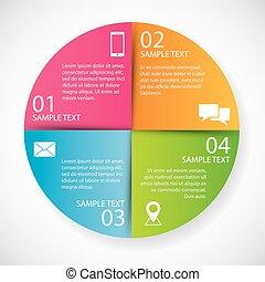cirkel, papier, infographics