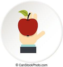 cirkel, pictogram, appel, hand