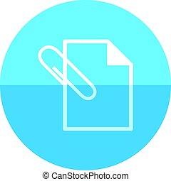 cirkel, pictogram, -, bijlage, bestand