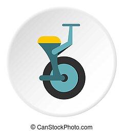 cirkel, pictogram, unicycle, blauwe