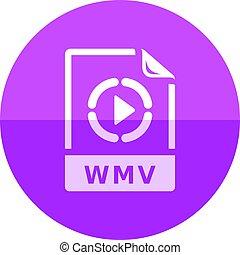 cirkel, pictogram, -, video, bestand, formaat