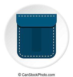 cirkel, pictogram, zak, blauwe