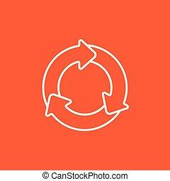 cirkel, pijl, lijn, icon.