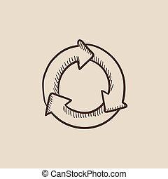 cirkel, pijl, schets, icon.