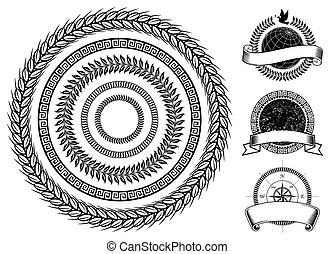 cirkel, ram, elementara