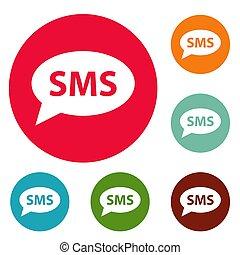 cirkel, sätta, sms, ikonen