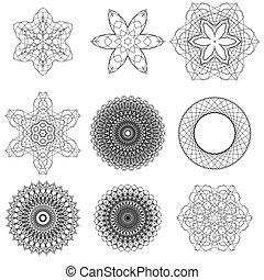 cirkel, set, black , versieringen