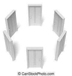 cirkel, stängd, dörrar