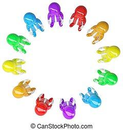 cirkel, stond, gekleurde, mensen
