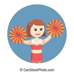 cirkel, tøjsæt, rød baggrund, cheerleader