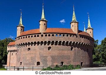 cirkel, vakttorn, in, krakow, in, polen