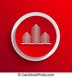cirkel, vector, eps10, icon., rood
