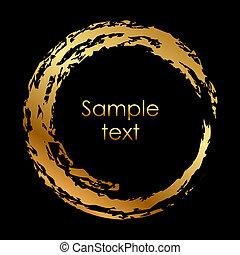 cirkel, vector, goud