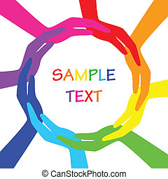 cirkel, vector, kleurrijke, handen