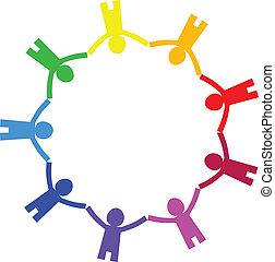 cirkel, vector, -, pictogram, mensen