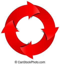 cirkel, vector, pijl, rood