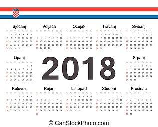 cirkel, vektor, 2018, kalender, kroatisk