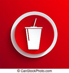 cirkel, vektor, eps10, icon., röd