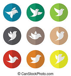 cirkel, vektor, gruppe, fugl